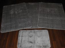 ROMANY GYPSY WASHABLE 4PC SETS NON SLIP MATS/RUGS PLAIN SILVER/GREY THICK PILE